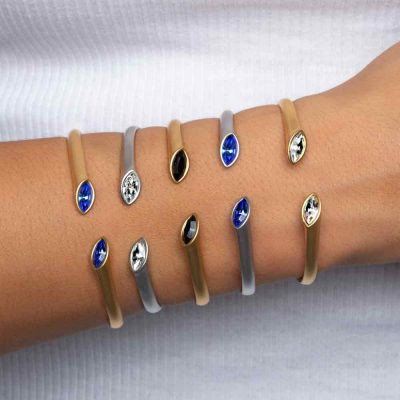 Mate Rhodium and gold Plated Cuff bracelets with hinge Urban Marquise with Swarovski crystal