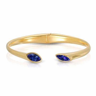 Matte Gold Plated Cuff Bracelet with Hinge Urban Marquise with Blue crystals