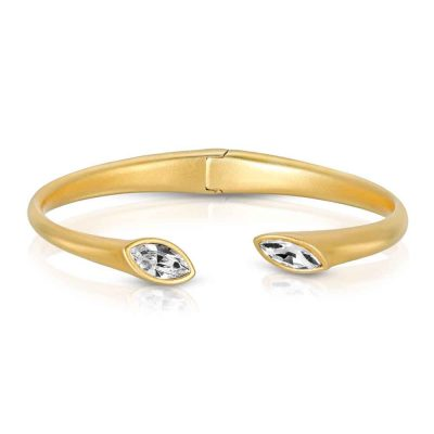Matte Gold Plated Cuff Bracelet with Hinge Urban Marquise with White crystals