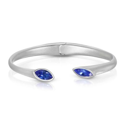 Matte Rhodium Plated Cuff Bracelet with Hinge Urban Marquise with Blue crystals