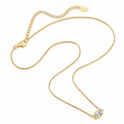 Petite Marquise Snake chain drop Necklace Matte 18K gold over .925 sterling silver with marquise cut Swarovski crystal available in White, Black, and Sapphire Blue