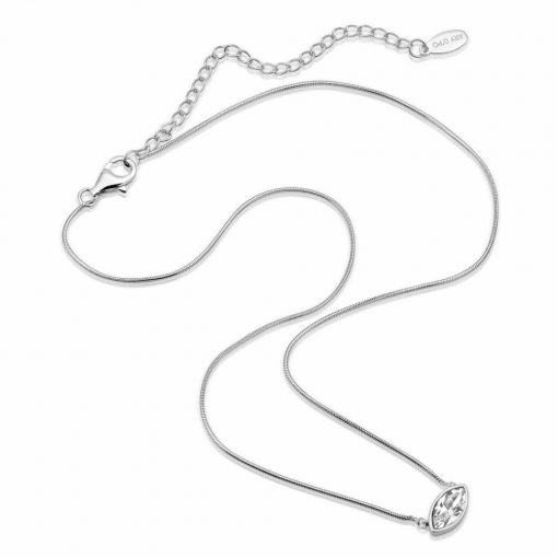 Petite Marquise Snake chain drop Necklace Matte Rhodium over .925 sterling silver with marquise cut Swarovski crystal available in White and Sapphire Blue