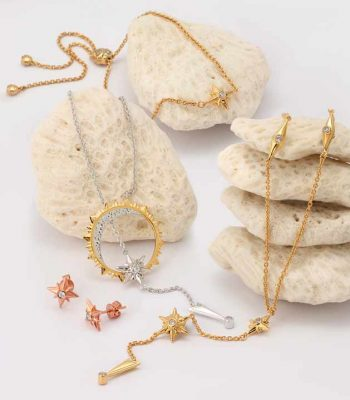 Shiny Stars jewelry collection in gold and rhodium over sterling silver by ARY DPO on white rocks