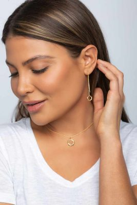 Four Leaf Clover Jewelry Collection in gold and rhodium over sterling silver by arydpo showcased by the beautiful Carly Diamond Stone