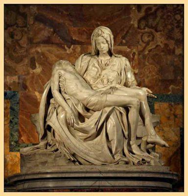 Sculpture by Michelangelo Pieta year 1498–1499 Marble, Renaissance era