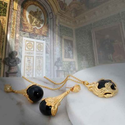 ary dpo Black Jewel agate and diamond jewelry collection in gold over sterling silver in Versailles