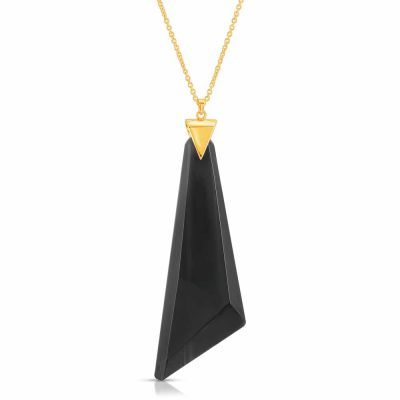 Black Obsidian Stone Necklace in Gold over Sterling Silver by arydpo