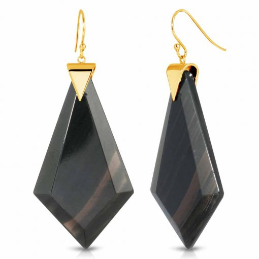 Energy Obsidian Earrings in 18K Gold over Sterling Silver a_01