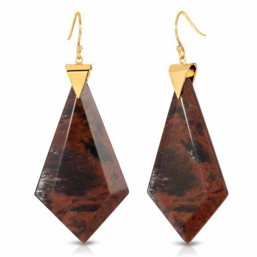 Energy Obsidian Earrings in 18K Gold over Sterling Silver c_01