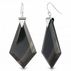 Energy Obsidian Earrings in Rhodium over Sterling Silver a_01