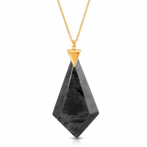 Energy Obsidian Necklace in 18K Gold over Sterling Silver
