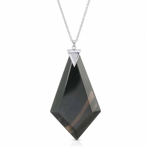 Energy Obsidian Necklace in Rhodium over Sterling Silver a_01