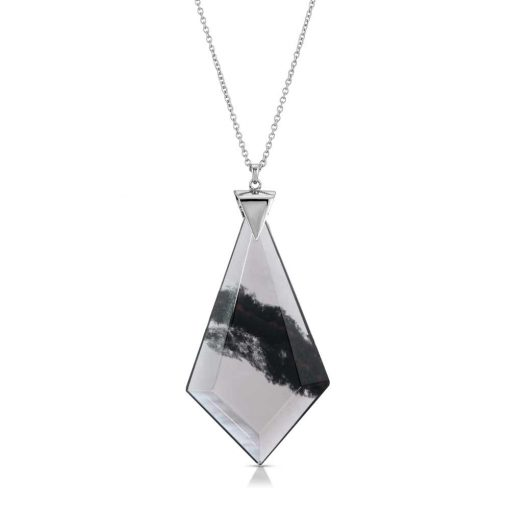 Energy Obsidian Necklace in Rhodium over Sterling Silver e_01