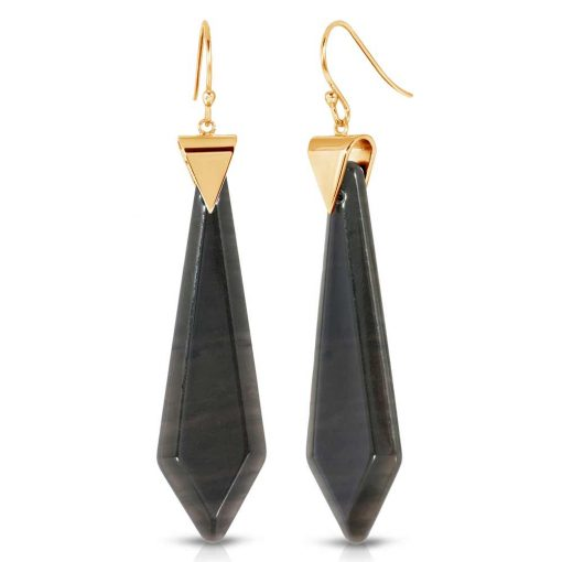Passion Obsidian Earrings in 18k Gold over Sterling Silver a_01