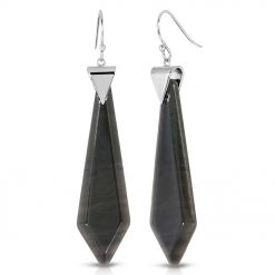 Passion Obsidian Earrings in Rhodium over Sterling Silver a_01