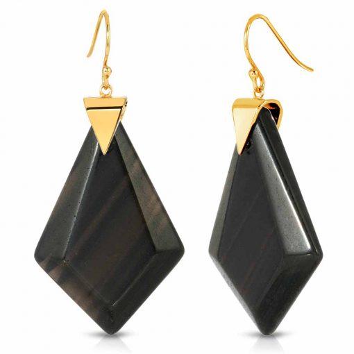 Power Obsidian Earrings in 18K Gold over Sterling Silver a_01