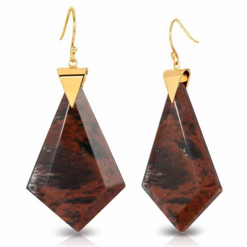 Power Obsidian Earrings in 18K Gold over Sterling Silver c_01
