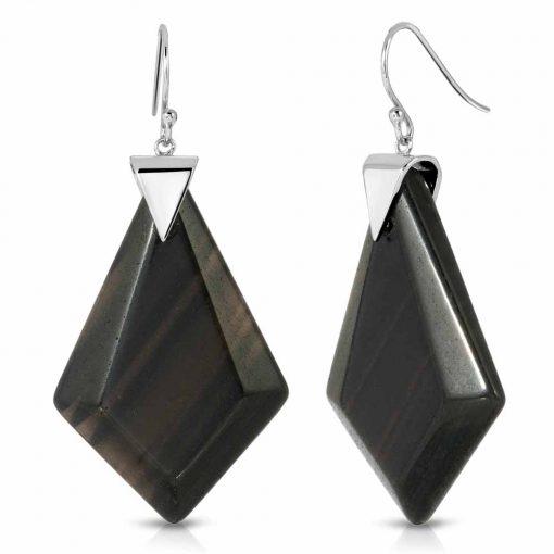 Power Obsidian Earrings in Rhodium over Sterling Silver a_01