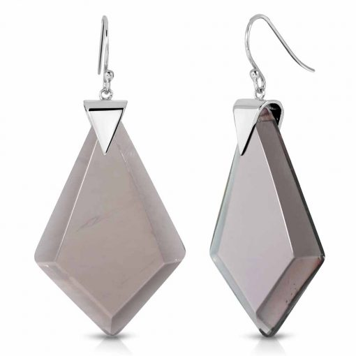 Power Obsidian Earrings in Rhodium over Sterling Silver d_01