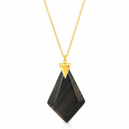 Power Obsidian Necklace in 18K Gold over Sterling Silver a_01