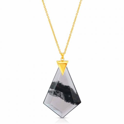 Power Obsidian Necklace in 18K Gold over Sterling Silver e_01