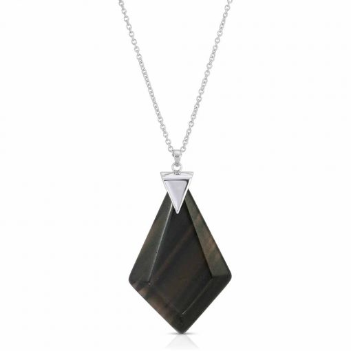 Power Obsidian Necklace in Rhodium over Sterling Silver a_01