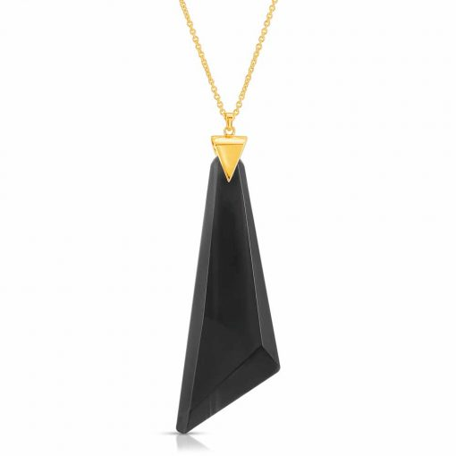 Protection Obsidian Necklace in 18K Gold over Sterling Silver a_01