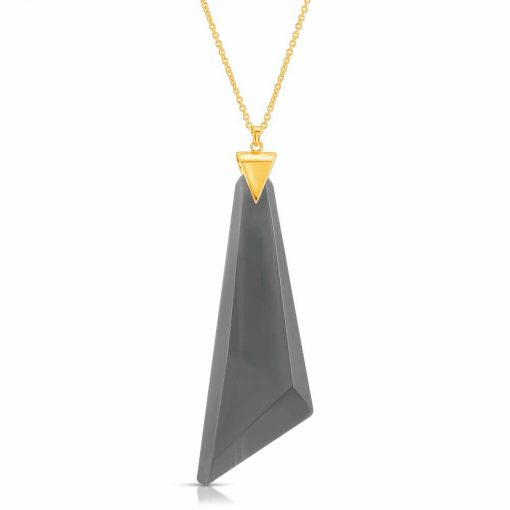 Protection Obsidian Necklace in 18K Gold over Sterling Silver b_01