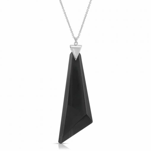 Protection Obsidian Necklace in Rhodium over Sterling Silver a_01