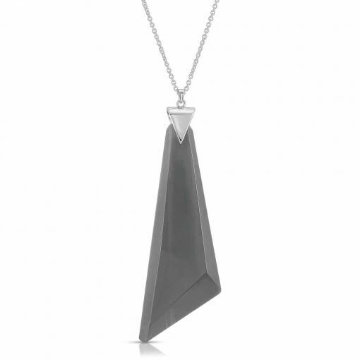 Protection Obsidian Necklace in Rhodium over Sterling Silver b_01