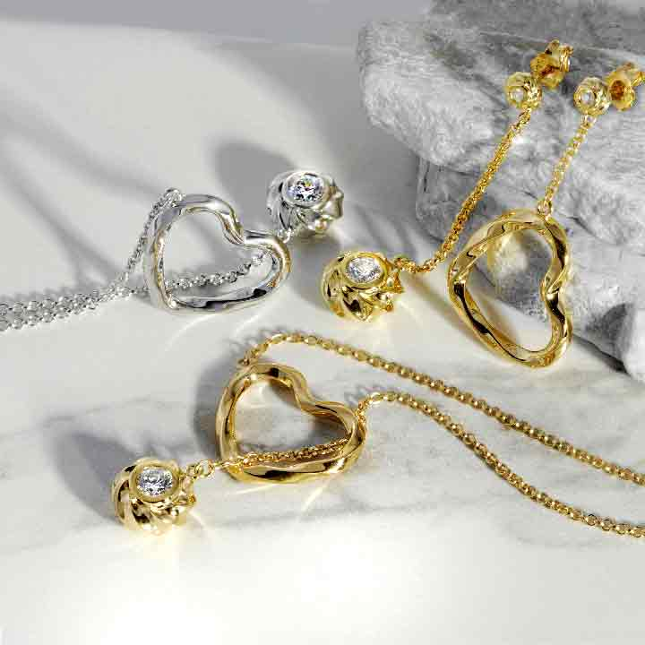Twisted Hearts Orbs Yellow Gold and Rhodium Plated Jwellery