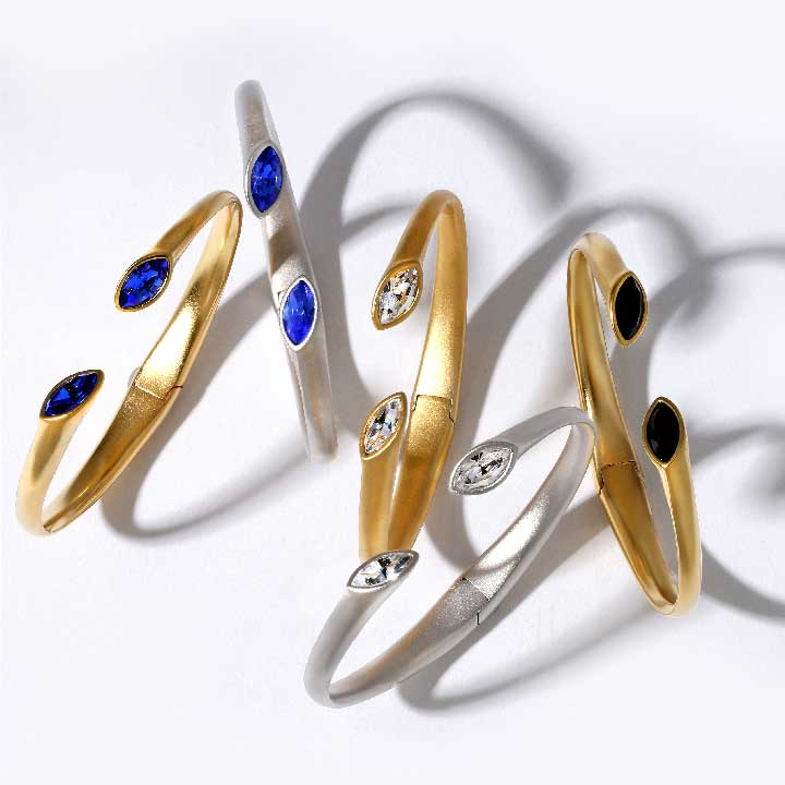 ARYDPO Matte Gold & Rhodium cuff bracelets with marquis cut crystals