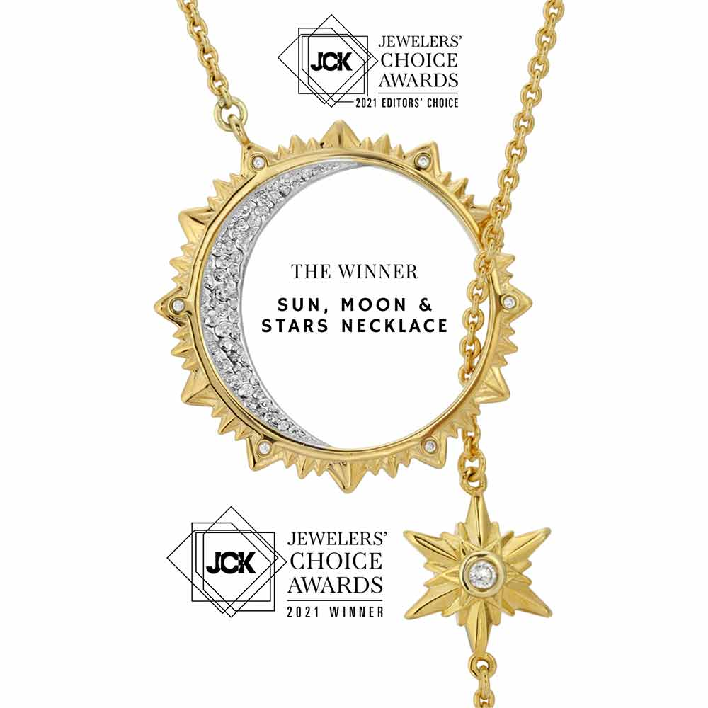 sun, moon & stars necklace by ary dpo 2021 JCK Winner