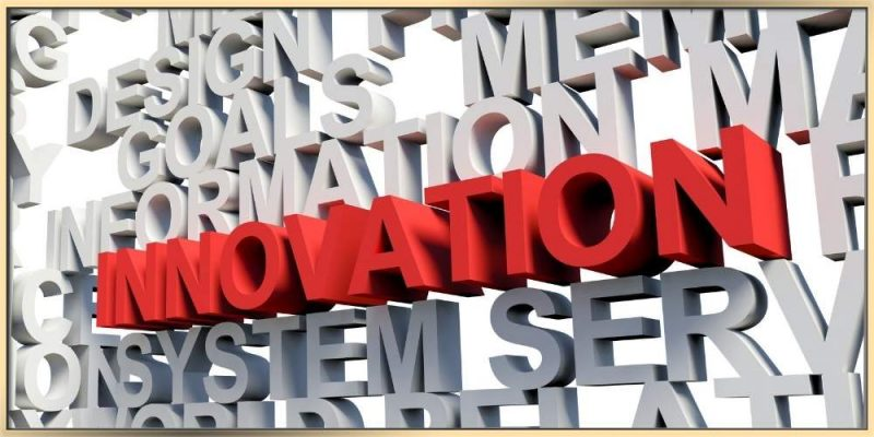Innovation sign surrounded by many criteria interconnected with innovation