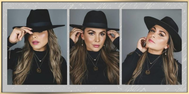 Three images of a fashionista wearing black top and hat and arydpo jewelry. She feels beautiful and confident.